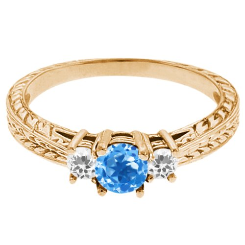 0.61 Ct Round Swiss Blue Topaz White Topaz 18K Yellow Gold 3-Stone Ring