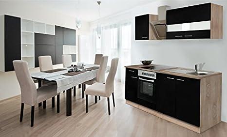 respekta Einbau Kuche Kuchenzeile 210 cm Eiche Sonoma Sägerau Front schwarz Ceran & Designer-Schräghaube