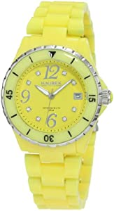 Haurex Italy Women's PY342DY1 Make Up Yellow Polycarbonate Bracelet Date Watch
