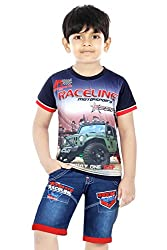 Koolwarm Boys' Black Cotton T-shirt and Denim Half Shorts Set(Size-22, 4-5 yrs)
