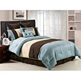 Chezmoi Collection 7 Pieces Beige, Blue and Brown Luxury Stripe Comforter 9 ....