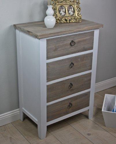 Cómoda de madera maciza, estilo rústico, color blanco y marrón, producto nuevo