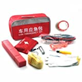 10 in 1 Car Emergency Tool Kit Rescue Package Tow Rope Battery Cable First Aid Tire Gauges