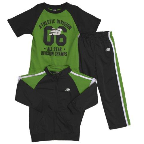 New Balance Little Boys 3 Piece Green Black Jacket T-Shirt Pants Track Suit front-951160