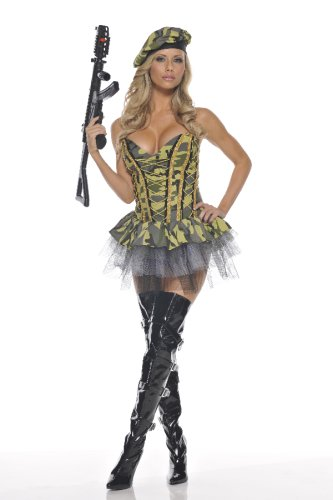 Camouflage bustier with attached skirt and built in petticoat, hat. Gun and Bullets not included.