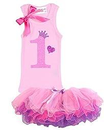 Bubblegum Divas Baby Girls\' 1st Birthday Shirt Pink Princess Tutu Outfit 18 Months
