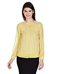 Meee Women's Body Blouse Shirt (TP-054_Yellow_Small)