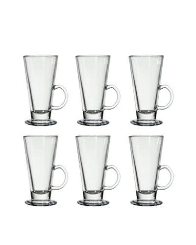 D&V Set of 6 After-Dinner Boston Irish Coffee Mugs, Clear