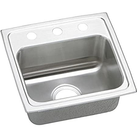 Elkao|#Elkay PSRQ17161 Elkay 20 Gauge Stainless Steel 17 Inch x 16 Inch x 7.125 Inch single Bowl Top Mount Kitchen Quick-Clip Sink, 1 Faucet Hole,