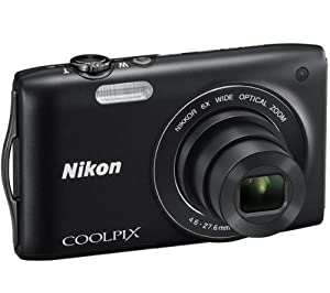 NIKON S3200 - black Plus ENEL19 lithium battery - Nikon EN-EL19 battery equivalent Plus 8 GB SDHC Memory Card Plus Nikon Leather Case - black
