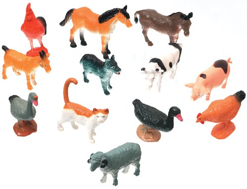 Darice 1029-08 Creatures Decorative Farm Animals, 12-Pack