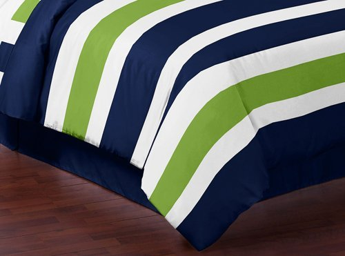 navy blue lime green and white childrens kids teen 3 piece full queen boys stripe bedding. Black Bedroom Furniture Sets. Home Design Ideas
