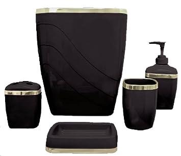 Model  Bathroom Sets  Wenko Faro Ceramic Bathroom Accessories Set  Black