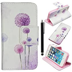 iPhone 5s Flip Cover,Qbily PU Leather Stand Protective Case with Magnet Closure ID Card Holder Slot Pouch Soft Wallet Cases Covers with Screen Protector Film and Black Stylus Pen (Purple Dandelion)