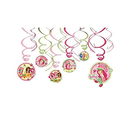 "Includes (6) hanging swirls with cutouts (24"") and (6) foil hanging swirls (18""). This is an officially licensed Strawberry Shortcake product."