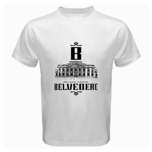 """Amazon.com: Belvedere Vodka Logo New White T-Shirt Size """"3XL"""