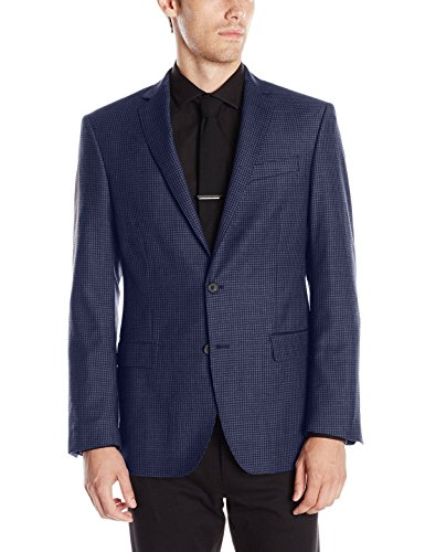 Dkny-Mens-Slim-Fit-Blue-Plaid-Two-Button-Wool-Linen-Blazer-Sportcoat