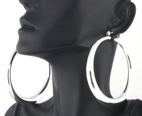 Ladies Silver Pin Catch Hoops Earrings