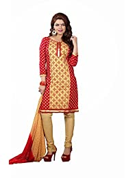 AASRI Party Wear Cotton Embroidered 3 Piece Unstitched Salwar Suit 6010
