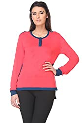 KAARYAH - Coral Full Sleeves Relaxed Fit Top