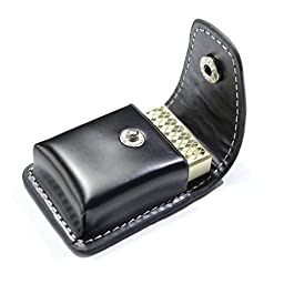 YINO PU Leather Cigarrete Lighter Sheath Pouch Case Holder for Zippo Lighter Size - Black