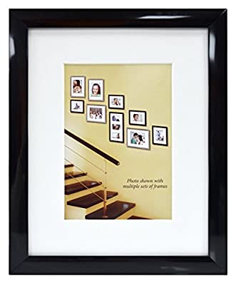 MCS 11x14-inch Picture Frame - Made to Display Pictures 8x10-inches with Mat or 11x14-inches Without Mat - or 8x7 without mat and 5x7 with mat - Glass Front (4 PACK)