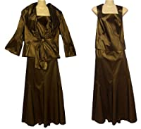 Presen Chocolate Brown Bronze 3 Piece Suit Outfit Mother of Bride Wedding Occasion Evening Wear Size 10