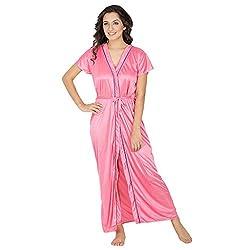 Klamotten Womens Satin Robe (X128_Pnk_Free Size_Pink)