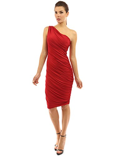 PattyBoutik Women's One Shoulder Cocktail Dress (Red M)