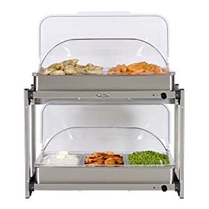BroilKing MLB-25RT Professional Multi-Level Buffet Server with Rolltop Lids