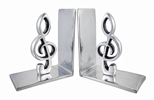 Pair of decorative polished aluminum treble clef bookends accessories studio live buy - Treble clef bookends ...