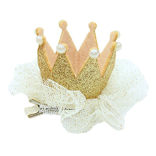 Kornblume 1 PSC Crown Lace Hair Clips Hair Dress For Baby Girls Golden