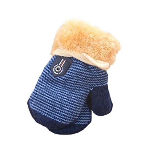Iusun Cute Thicken Hot Infant Baby Girls Boys Of Winter Warm Gloves Super Soft Mittens (Dark Blue)