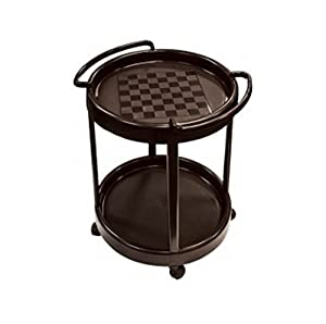 Checkers Game Table Portable - Side Tables with Wheels Multi-use 3 in 1 Chess Checkers Rolling with Storage