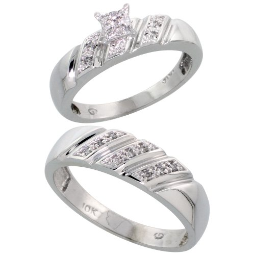 10k White Gold Diamond Engagement Rings Set for Men and Women 2-Piece 0.12 cttw Brilliant Cut, 5mm & 6mm wide, Size 9.5