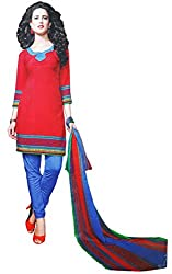 LolyDoll Women's Synthetic Printed Salwar Suit Material, Unstitched Dress/Top Material, Salwar Suit Dupatta Material_DM9(Red)