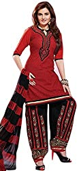 Limemode Women's Cotton Unstitched Dress Material (WASS000097_Red_Free Size)