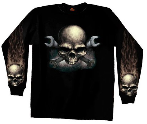 Hot Leathers Skull & Wrench Bones Long Sleeve T-Shirt (Black, Medium)