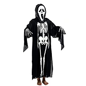 Foxnovo Halloween Skull Skeleton Ghost Clothes Screaming Ghost Mask Masquerade Costume Cosplay Props Set for Adults (Black) from Foxnovo