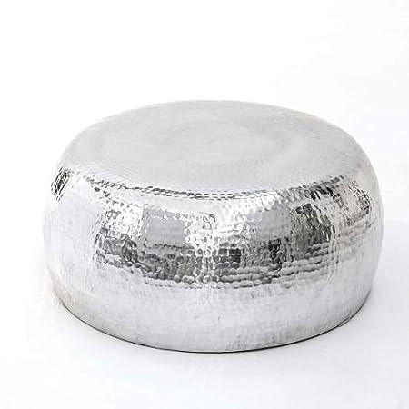Kasandria® Couchtisch Steel Silber | Rund | Tisch Galaxy | Aluminium Beistelltisch | Industrial Chic