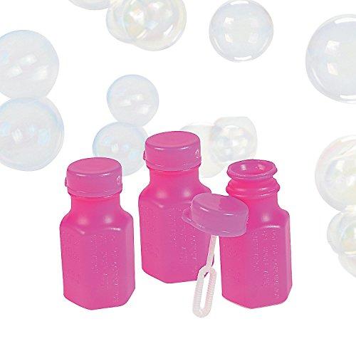 Mini Neon Pink Hexagon Bubble Bottles (4 Dz) front-28275