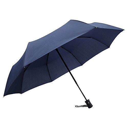 cohesivetech apertura e chiusura automatica, antivento, compatto pieghevole ombrello per facile trasporto, blu