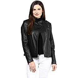 Hypernation Black Color Side Zipper Leather Jacket