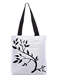 Snoogg Design Element Graphic Drawing Of A Brunch With Leaves Designer Poly Canvas Tote Bag