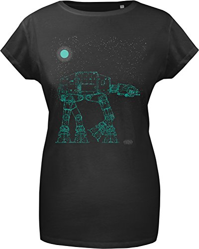 GOZOO Star Wars T-shirt Donna Glowing Imperial Walker 100% Cotone, Stampa di Alta Qualitá Nero M