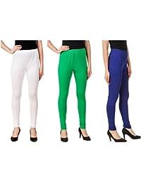Svadhaa White Green Royal Blue Cotton Lycra Leggings(Pack Of 3)