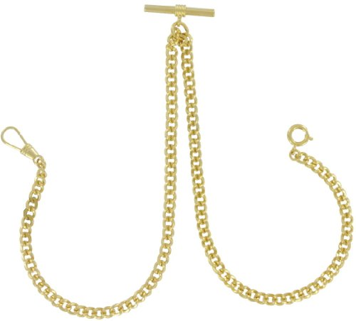 Ky & Co Yellow Gold Plated Metal Mens Double Albert Pocket Watch Chain