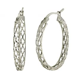 1.1 Inch Sterling Silver Hoop Earrings Filigree Style