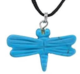 17.00 Cts. Hand Carved Turquoise Howlite Gemstone Dragonfly Pendant