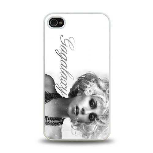 Pop Star Lady Gaga Cool Design #1 Matt Feel Hard Plastic Iphone 4 4S Case Protective Skin Cover (White)